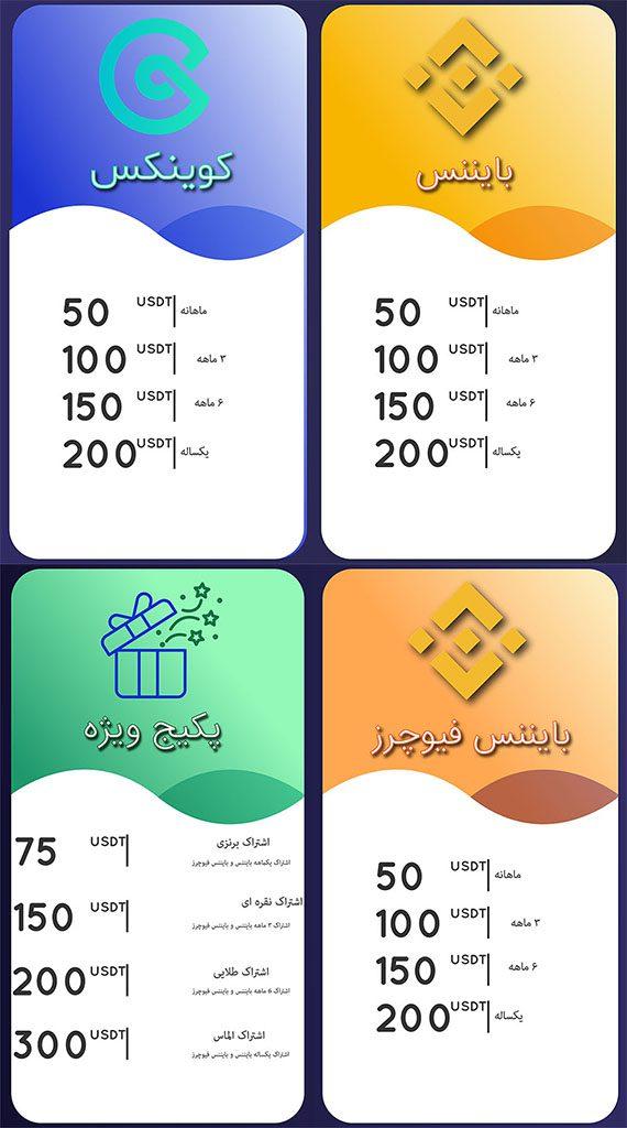 پلن های اشتراک کانال سیگنال ارز دیجیتال